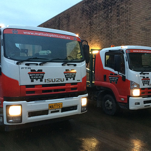 Trucks loading up for a busy Friday in Western Sydney