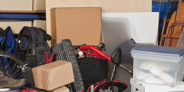 Piles of junk inside garage