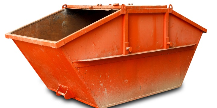 Orange skip bin for hire