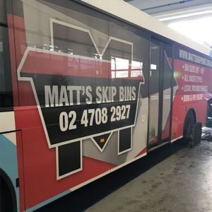 Matt's Skip Bins bus advertising in the Penrith area.