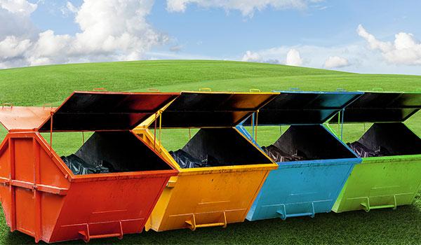 colourful skip bins