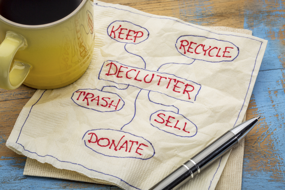 decluttering and recycling office bin