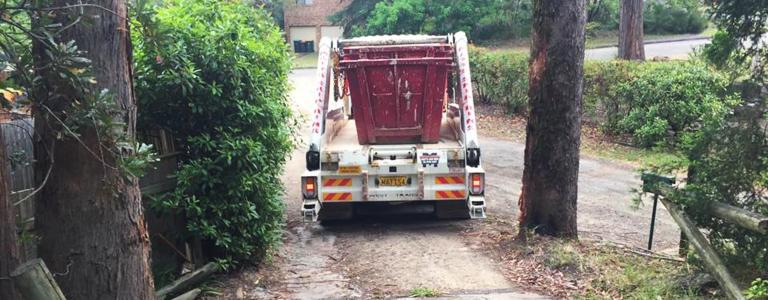 Skip bin delivery truck access